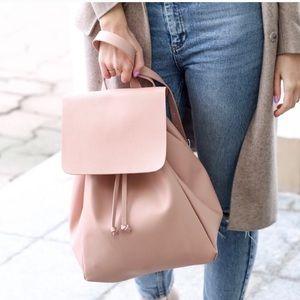 ZARA Vegan Leather Backpack Purse in Dusty Pink